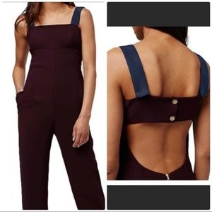 Topshop Burgandy cut out back jumpsuit size 6